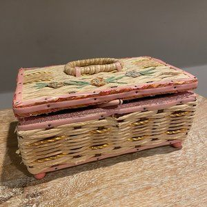 Vintage Pink Wicker Sewing Basket